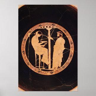 Rojo-figura ateniense kylix que representa Aegeus Posters