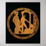 Rojo-figura taza que representa Athena, Theseus Impresiones