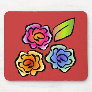 Rojo floral 3 de Glimmericks Alfombrillas De Ratones