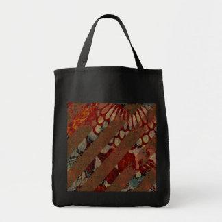 Rojo floral abstracto y Brown con las rayas del Gr Bolsa Lienzo