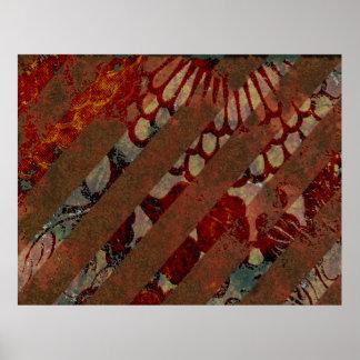 Rojo floral abstracto y Brown con las rayas del Gr Impresiones