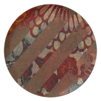 Rojo floral abstracto y Brown con las rayas del Gr Platos De Comidas