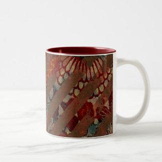 Rojo floral abstracto y Brown con las rayas del Gr Taza De Café