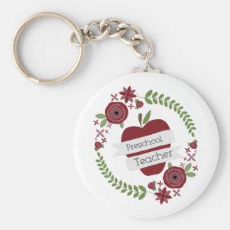 Rojo floral Apple de la guirnalda del profesor pre Llavero Redondo Tipo Pin