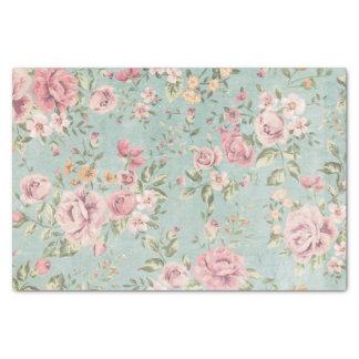 Rojo floral azul claro elegante lamentable del papel de seda pequeño