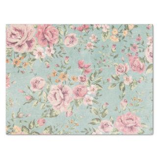 Rojo floral azul claro elegante lamentable del papel de seda mediano
