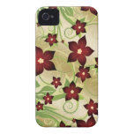 Rojo floral iPhone 4 protector