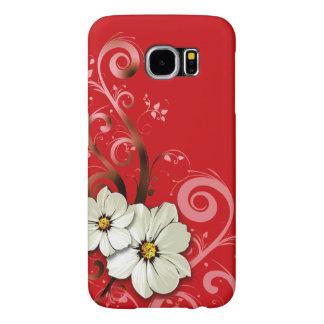 Rojo floral moderno de Curlicues que remolina el | Fundas Samsung Galaxy S6