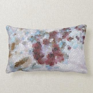 Rojo floral, mosaico azul y violeta de la lavanda cojín lumbar