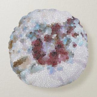 Rojo floral, mosaico azul y violeta de la lavanda cojín redondo
