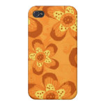 Rojo floral retro del Modelo-Naranja de la MOD iPhone 4 Protectores