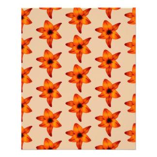 Rojo - flores anaranjadas del lirio en color del tarjetón