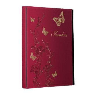 Rojo, folios floral del iPad de la mariposa del or