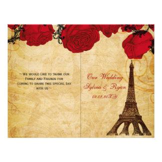 Rojo francés de la torre Eiffel doblado casando Tarjeta Publicitaria