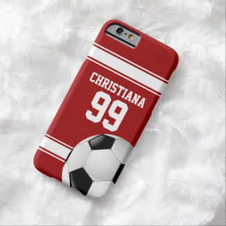 Rojo fresco y el blanco raya el balón de fútbol funda para iPhone 6 barely there