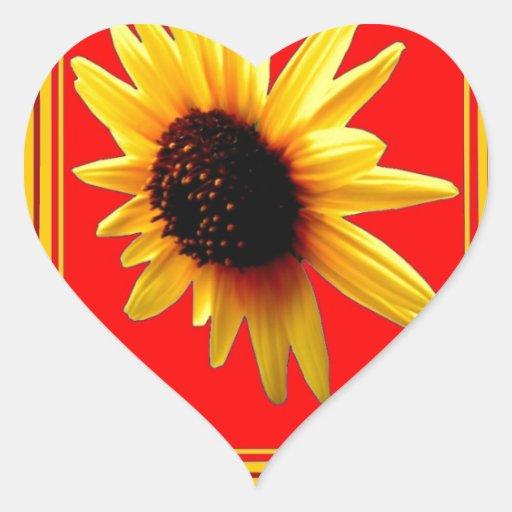 Rojo/fronteras amarillos americanos del girasol pegatina en forma de corazón