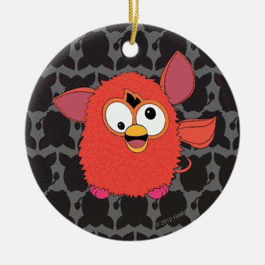 Rojo Furby de Phoenix Adorno Navideño Redondo De Cerámica