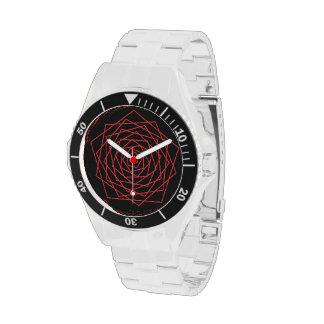 rojo girado concéntrico de los pentágonos - negro reloj