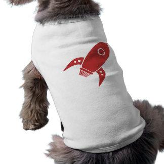 Rojo gordo de la nave de Rocket retro Playera Sin Mangas Para Perro