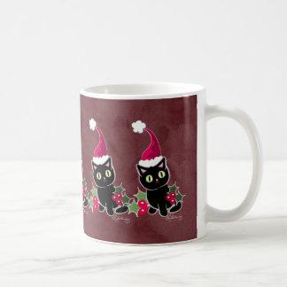 Rojo gótico del gato del navidad taza