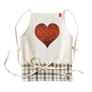 Rojo gráfico del corazón del brillo del delantal delantal zazzle HEART