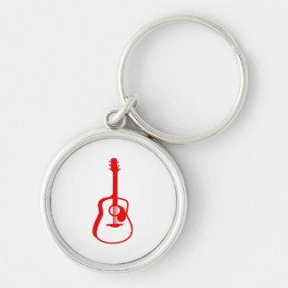 rojo gráfico resumido de la guitarra llavero redondo plateado