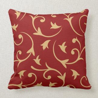 Rojo grande barroco y oro del diseño cojines