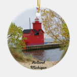Rojo grande, Holanda Michigan Adorno Navideño Redondo De Cerámica