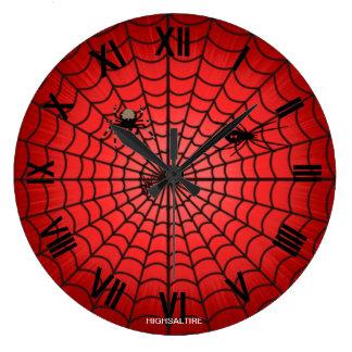 Rojo (grande) redondo de la tela de arañas del rel reloj redondo grande