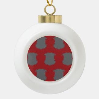 Rojo gris del escudo del escudo adorno de cerámica en forma de bola