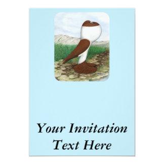 """Rojo Hana de la paloma del Pouter Invitación 5"""" X 7"""""""