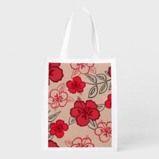 Rojo hawaiano del modelo del hibisco bolsa para la compra