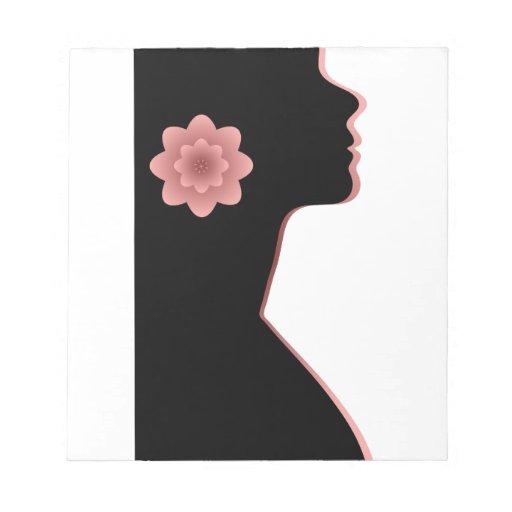 Rojo hermoso del negro de la mujer de la silueta d libreta para notas