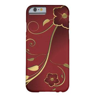 Rojo hermoso del vintage y vector floral del oro funda de iPhone 6 barely there