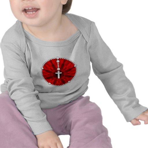 Rojo ideal del colector del rosario camisetas