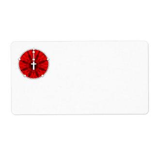 Rojo ideal del colector del rosario etiqueta de envío