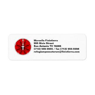 Rojo ideal del colector del rosario etiqueta de remite