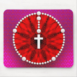 Rojo ideal del colector del rosario mouse pads