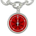 Rojo ideal del colector del rosario pulseras con dijer
