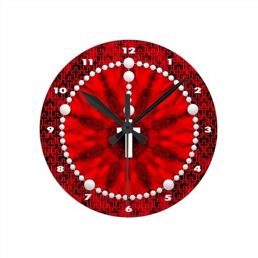 Rojo ideal del colector del rosario reloj redondo mediano