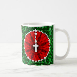 Rojo ideal del colector del rosario taza