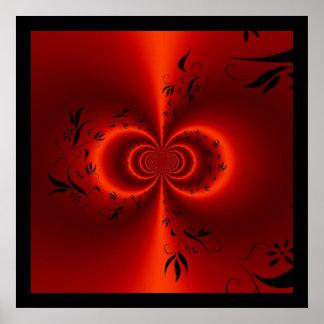 Rojo ideal floral de la impresión y negro abstract posters