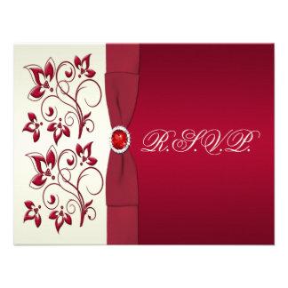 Rojo IMPRESO de la CINTA tarjeta de contestación Invitación Personalizada