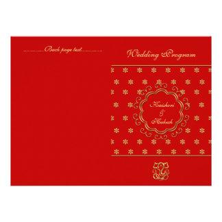 Rojo inspirado indio y oro del programa del boda d anuncio personalizado