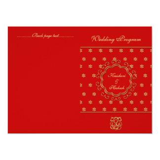 Rojo inspirado indio y oro del programa del boda anuncio personalizado