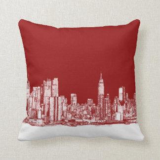 Rojo intrépido de Nueva York Almohadas