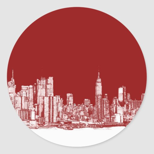 Rojo intrépido de Nueva York Pegatinas Redondas