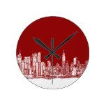 Rojo intrépido de Nueva York Relojes De Pared