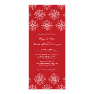 Rojo + invitación blanca del boda del invierno de