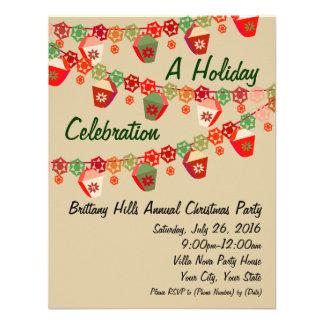 Rojo + Invitaciones de encargo del navidad de las Invitacion Personalizada